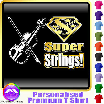 Violin Viola Super Strings - Personalised Music T Shirt 5yrs - 6XL MusicaliTee
