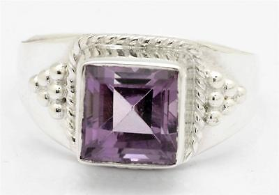 Natural Amethyst Ring Solid 925 Sterling Silver Jewelry Size 8.25 IR28750
