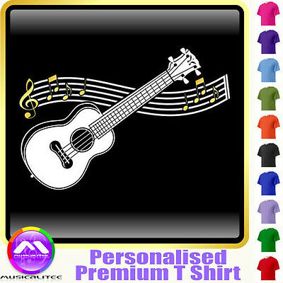 Ukulele Curved Stave - Personalised Music T Shirt 5yrs - 6XL by MusicaliTee