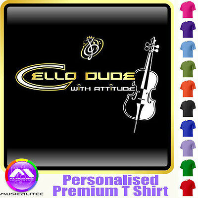 Cello Dude With Attitude No Strings - Music T Shirt 5yrs - 6XL by MusicaliTee