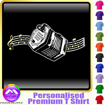Concertina Curved Stave - Personalised Music T Shirt 5yrs - 6XL by MusicaliTee
