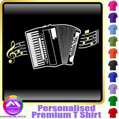 Accordion Curved Stave - Personalised Music T Shirt 5yrs - 6XL by MusicaliTee
