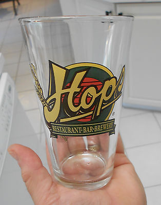 """HOPS REASTAURANT/BREWERY GLASS-5 3/4"""" HIGH-VG+ CONDITION"""