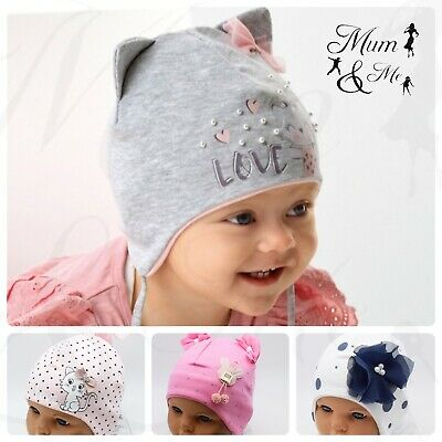NEW Girls Baby Hats Cute Cotton Stretchy Beanie Lace Up Newborn Infant Spring