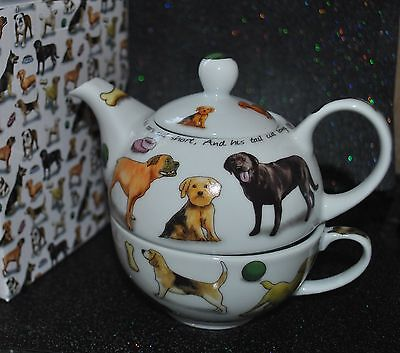 NEW CARDEW PUSSY MAN'S BEST FRIEND Dog TEA for ONE Teapot & Cup GIFT Box