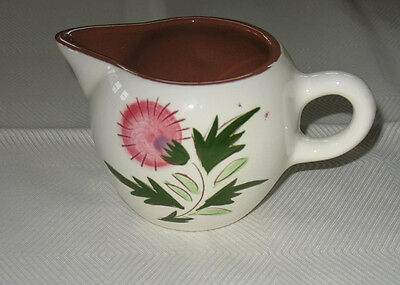 "Vintage Stangl Creamer Green Pink White Excellent  Hand-Painted  3"" T"