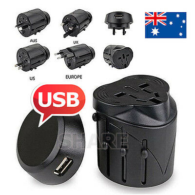 OZ EUROPE AUS UK US International Universal Travel Adapter Plug AC / USB Power