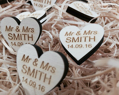 Personalised Wooden Heart Table Decorations Rustic Vintage Wedding Favours. 6m