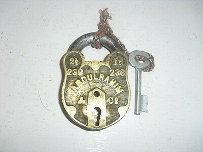 OLD BRASS  WORKING LARGE SIZE LOCK GOOD CONDITION WITHOUT FLAP