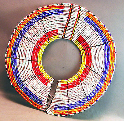 Maasai Tribal Jewelry Red Blue White Africa Wire Beaded Necklace Tanzania Ethnix