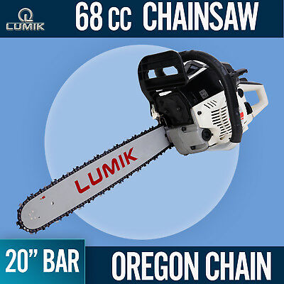 "NEW 68cc Commercial Chainsaw e-Start 20"" Bar Petrol Saw Pruning and OREGON Chain"
