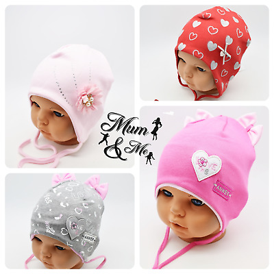 Kids Baby Girls Hats Cotton Infant Cap Tie Up Beanie Stretchy Newborn Hat