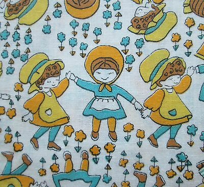 Childrens 1960s Vintage Fabric Little Girls Flower Print Blue Yellow 1-1/3 yds