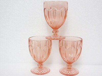 2 Pink Colonial Footed 10 Ounce Goblets / Hocking