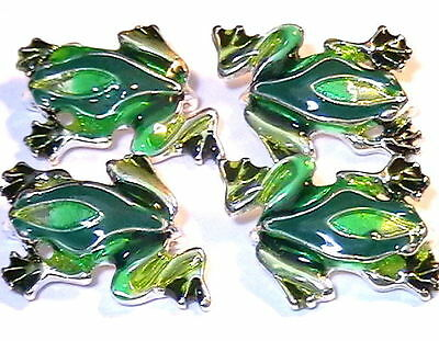 4 - 2 HOLE SLIDER, SPACER OR CONNECTOR BEADS ADORABLE 3 TONE GREEN ENAMEL FROGS