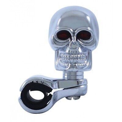 Chrome Skull Steering Wheel Spinner - (Chrome) Universal
