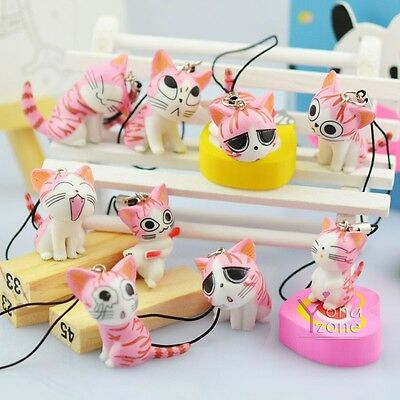 Lot of 9pc Pink Chi's Sweet Home Phone Straps Cute Kitty Charms Cat Keychains