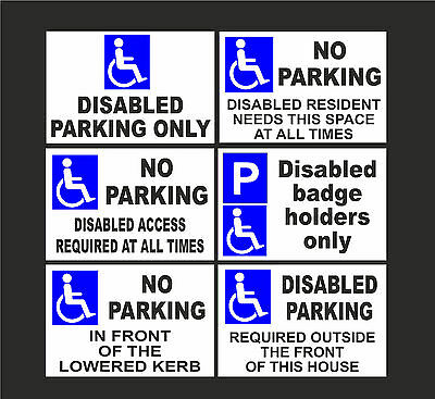 Disabled No Parking Signs, Badge Holders Only, Lowered Kerb All Materials A5