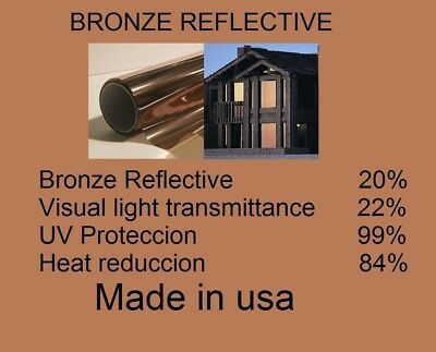 "Architectural Window Solar Bronze Film 20% Tint Residential  20"" x 15 Feet USA"