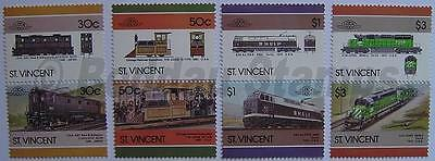 1986 ST VINCENT Set #6 Train Locomotive Railway Stamps (Leaders of the World)