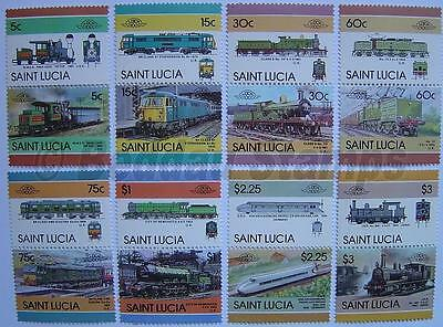 1986 ST LUCIA Set #5 Train Locomotive Railway Stamps (Leaders of the World)