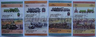 1985 GRENADINES Set #3 Train Locomotive Railway Stamps (Leaders of the World)