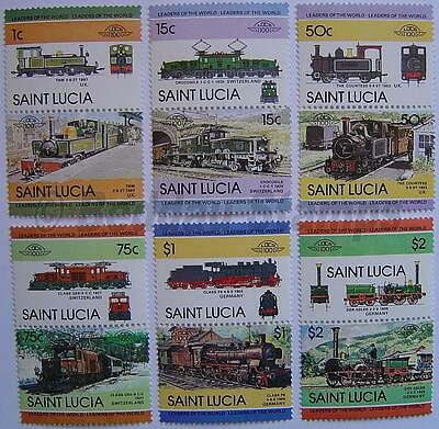 1984 ST LUCIA Set #2 Train Locomotive Railway Stamps (Leaders of the World)