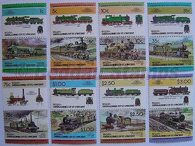 1984 BEQUIA Set #2 Train Locomotive Railway Stamps (Leaders of the World)