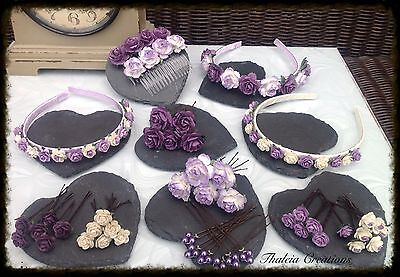 PURPLE/LILAC/IVORY ROSE FLOWER WEDDING HAIR ACCESSORIES*Aliceband*Comb*Pin*Grips