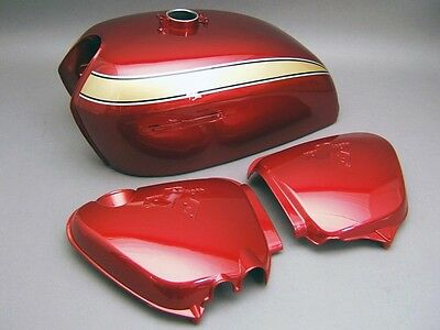 HONDA CB750 K2 PAINTED TANK SIDE COVER PANEL SET CANDY RUBY RED NEW G007R