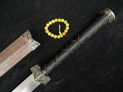 Chinese han jian sword Damascus steel blade/Rosewood scabbard Alloy Knife fitted