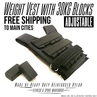 NEW Adjustable Weight Vest with 30KG Blocks Fitness Gym Equipment Exercise Gear