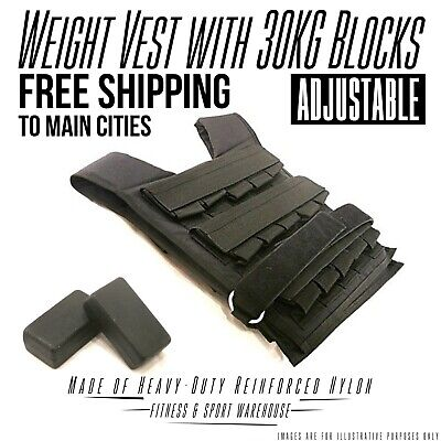 NEW Adjustable Weighted Vest with 30KG Blocks Fitness Gym Equipment Exercise