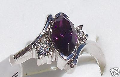 SIZE:8_OVAL ~AMETHYST ~ 18KGP ~ WHT ~ GOLD ~RING  --- (GREAT_CHRISTMAS_GIFT)