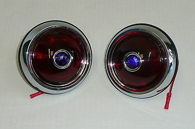 1950 Pontiac Style Glass LensTail Lights With Blue Dots Pair Hot Rod Rat Rod