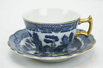 Vintage E W Princess China Blue Willow Tea Cup And Saucer Collectible Small 5005