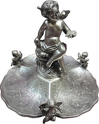 Portuguese Sterling Cherub Stand w/Cherub Finial & Feet Figural Beautiful