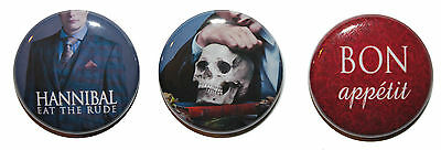 """1"""" (25mm) 'Hannibal' Set of 3 Button Badge Pins - High Quality - MADE IN UK"""
