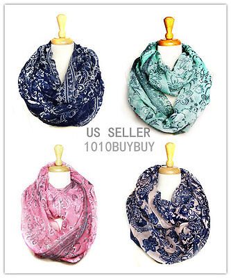 USWholesaler 12PC-Assorted Colosr-FLOWER Soft Infinity Scarf #6047