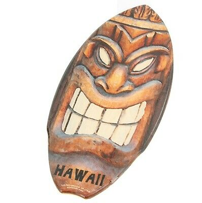 Happy Tiki Surf God Smile Wood Mini Surfboard KC Hawaii Decor 8.5 x 20