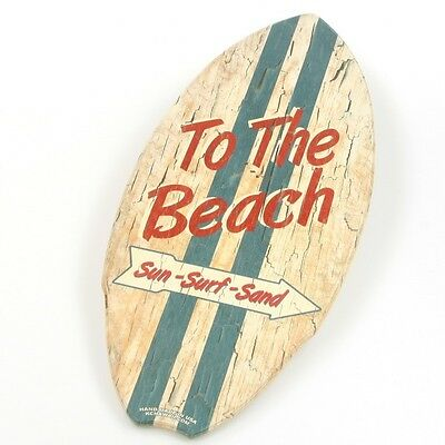 To The Beach Surf Arrow Wood Mini Surfboard KC Hawaii Decor 8.5 x 20