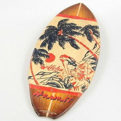 Hula Girl Palm Tree Beach Wood Mini Surfboard KC Hawaii Decor 8.5 x 20