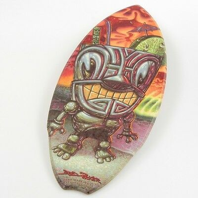 Cocktail God Tiki Shark Wood Mini Surfboard KC Hawaii Decor 8.5 x 20