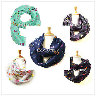 Wholesale Lots 12PC Assorted Color Anchor Infinity Scarf #5024