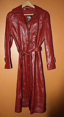 Vintage 24K Leather by dan di modes  Long trench belted brick red coat