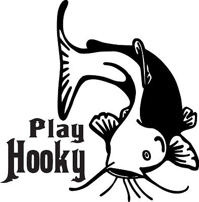 Play Hooky Wels Blue Yellow Channel Catfish Fishing Truck Window Decal Sticker 2