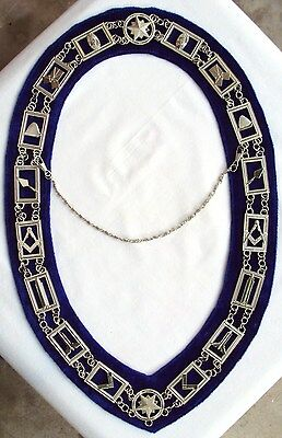 Regalia Masonic Master Mason Blue House Metal Chain Collar 01