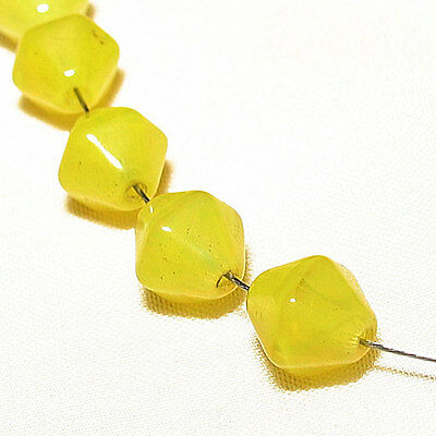 15 RARE old bohemian/czech small yellow vaseline bicone beads african trade #203