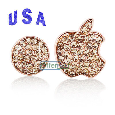 Bling Logo& Home Button Crystal Sticker YS for Apple iPhone 5S 5C 5 5G Gold USA