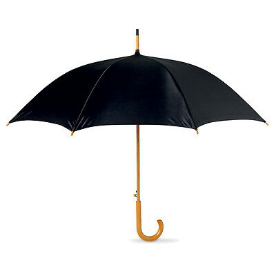 Classic Automatic Black Umbrella Wooden Crook Handle - Wedding Brolly Walking